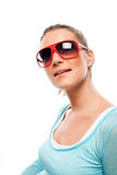 Beautiful tanned woman wearing sunglasses Royalty Free Stock Photo