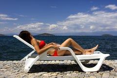 Beautiful tanning girl  Stock Image