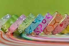 Colourful glitter texture designed adhesive tape. Beautiful tapes can be used for decoration, crafting, art projects, creativity also used for sticking paper stock images