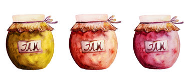 Beautiful Tasty Appetizing Jam Jars with Fruit Jam. Hand Drawn W Royalty Free Stock Images