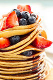 Beautiful Tasty Appetizing Stack Pile of Pancakes with Fresh Sum Royalty Free Stock Images