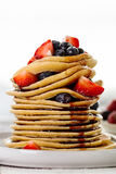 Beautiful Tasty Appetizing Stack Pile of Pancakes with Fresh Sum Stock Photo