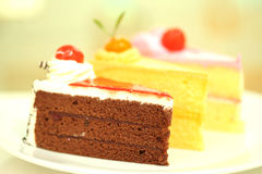 Beautiful tasty chocolate cake close up Royalty Free Stock Images