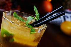 Beautiful and tasty mint cocktail or lemonade with a nice bokeh. soft focus. Royalty Free Stock Photos