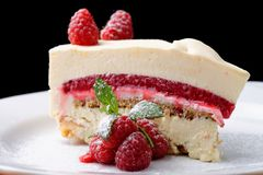Beautiful tasty raspberry cheese cake Stock Image