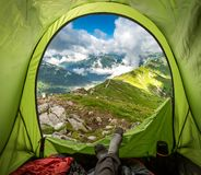 Beautiful Tatra mountain view from tent in Kasprowy Wierch, Poland royalty free stock photos