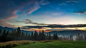 Beautiful Tatra mountains at dusk view from Zakopane Stock Photography