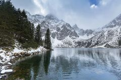 Eye of the Sea lake in Tatra mountains at winter Royalty Free Stock Photos