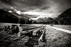 Beautiful Tatry mountains landscape in black and white Royalty Free Stock Images
