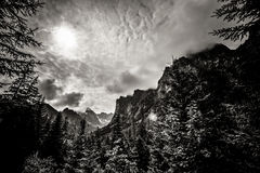 Beautiful Tatry mountains landscape in black and white Royalty Free Stock Photo