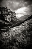 Beautiful Tatry mountains landscape in black and white Royalty Free Stock Image