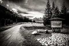Beautiful Tatry Mountains Landscape In Black And White Stock Photos