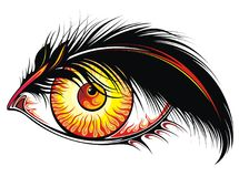 Beautiful tattoo eye with fire in it. Colorful stylised eye with fire and feather on white background Stock Photo