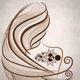 Beautiful Tattoo of floral decorated brown color. design. Royalty Free Stock Photography