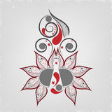 Beautiful Tattoo of floral decorated grey and red colour. Royalty Free Stock Photography
