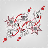 Beautiful Tattoo of floral decorated grey and red colour. Royalty Free Stock Photos