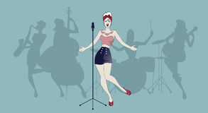 Beautiful and tattooed pin-up girl singing with ladies band in t. He background royalty free illustration