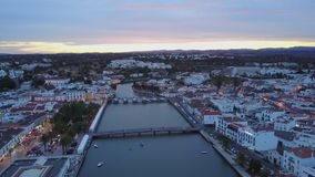 Beautiful Tavira by Gilao river from above, Algarve, Portugal stock footage