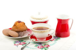 Beautiful tea set with cupcakes Royalty Free Stock Photography