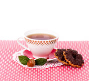 Beautiful tea set with cupcakes Stock Image