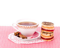 Beautiful tea set with cupcakes Stock Photography