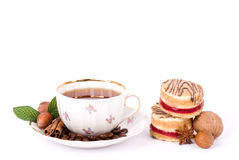 Beautiful tea set with cupcakes Royalty Free Stock Image