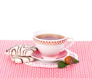 Beautiful tea set with cupcakes Royalty Free Stock Images