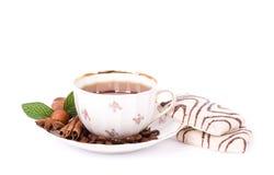 Beautiful tea set with cupcakes Stock Photography