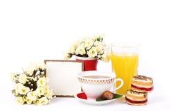 Beautiful tea set with cupcakes Stock Photo