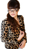 Beautiful teacher. In leopard jacket on white background Stock Image