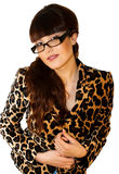 Beautiful teacher. In leopard jacket on white background Stock Photography