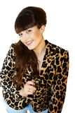 Beautiful teacher. In leopard jacket on white background Stock Images