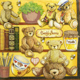 Beautiful teddy bears pattern on napkin Stock Images