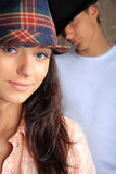 Beautiful teen age girl and boy. Couple in love. Royalty Free Stock Photo