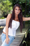 Beautiful Teen Brunette Outdoors (1) Stock Images