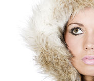 Beautiful Teen in Fur Hood Royalty Free Stock Photography