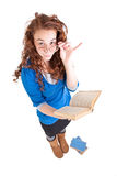 Beautiful teen girl. With books on white background Royalty Free Stock Image