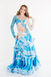 Beautiful teen girl belly-dancer isolated on white Royalty Free Stock Photo