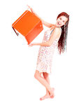 Beautiful teen girl with box Royalty Free Stock Photo