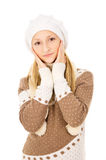 Beautiful teen girl in a cap and scarf Stock Photos