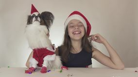 Beautiful teen girl and dog Continental Toy Spaniel Papillon in Santa Claus costumes enjoy the New Year`s serpentine on stock video footage