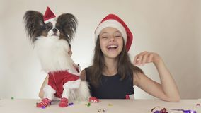Beautiful teen girl and dog Continental Toy Spaniel Papillon in Santa Claus costumes joyfully looking around and. Laughing on a white background Stock Photos