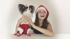Beautiful teen girl and dog Continental Toy Spaniel Papillon in Santa Claus costumes joyfully looking around and Stock Images