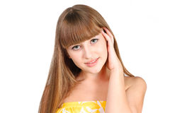 Beautiful teen girl face over white background. Beautiful teen girl face isolated on white background Royalty Free Stock Photography
