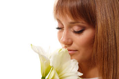 Beautiful teen girl with flower Royalty Free Stock Images