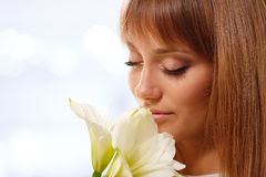 Beautiful teen girl with flower Royalty Free Stock Image