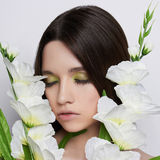 Beautiful teen girl with flowers Royalty Free Stock Photo