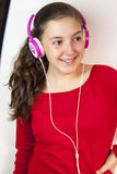 Beautiful teen girl with headphones posing Stock Images