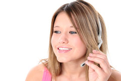 Beautiful Teen Girl With Headset Over White Stock Photos