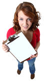 Beautiful Teen Girl Holding Clipboard Royalty Free Stock Photo